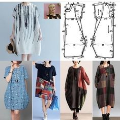 New Sewing Clothes Easy Costura 62 Ideas Tunic Sewing Patterns, Clothing Patterns, Dress Patterns, Easy Sew Dress, Diy Dress, Sewing Clothes Women, Diy Clothes, Diy Crafts Dress, Easy Knitting Projects