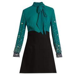 Miu Miu Embellished-sleeve silk and cady mini dress (58.763.255 IDR) ❤ liked on Polyvore featuring dresses, black green, sequin mini dress, green silk dress, green dress, short sleeve cocktail dresses and silk wrap dress