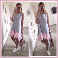 c43e5573369 Летние платья 2018 Повседневное Свободные Лоскутные рукавов оборками  О-образным вырезом прямо платье модные женские