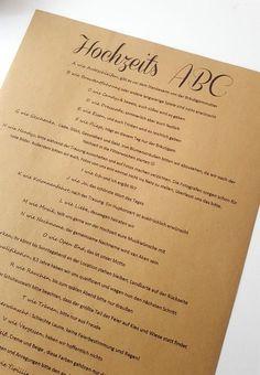 Ihr möchtet euren Gästen ein Hochzeits-ABC erstellen, habt aber noch keine Idee? Dann schaut bei uns vorbei.... Inspirationen   Tipps   Beispiele & Ideen Foto © Svenja van Aken