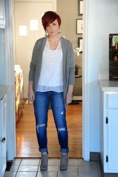 Thrift and Shout blog; Spring 2015 Trends, Forever 21 Fringe earrings, Target sweater, Paige distressed denim jeans, red hair, short hair, style, fashion, Target suede booties, neutrals