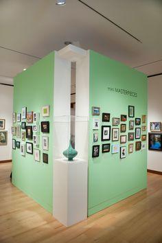 Mini Masterpieces - salon style exhibition design, light green mint color