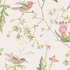 Hummingbirds Wallpaper A delightful wallpaper featuring playful hummingbirds fluttering amongst delicate foliage, printed in pea green, lilac and yellow on a cream background.