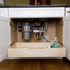 Pull0out drawer beneath plumbing.  Traditional kitchen by Alisa Hofmann.  From Houzz.