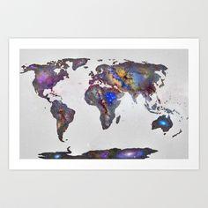 Stars world map Art Print by Guido Montañés - $20.00
