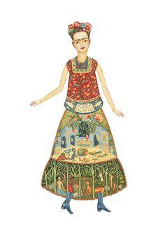 Frida Kahlo paper doll by Elsa Mora.