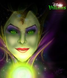 It's Maleficent from Sleeping Beauty, my FAVORITE Disney Villain. Although I was kind of happy about the rumor of Angelina Jolie playing her in Tim Burt. Sleeping Beauty 1959, Malificent, Greatest Villains, Evil Queens, Disney Art, Disney Stuff, Disney Villains, My Favorite Part, Cool Art
