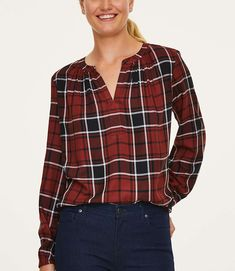 2146084e5 Petite Plaid Shirred Split Neck Top 0. Kathrin J. Hollifield · Ann Taylor/ Loft