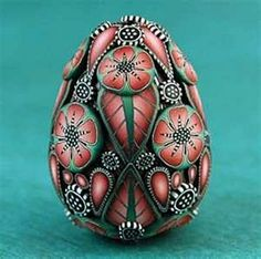 Miniature Fabergé Egg Style Polymer Clay Focal Bead (64 pieces)