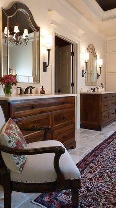 #MasterBath #InteriorDesign, elegant traditional bath with custom made his and hers sinks. Elegant #ClassicalHomeDesignStyle