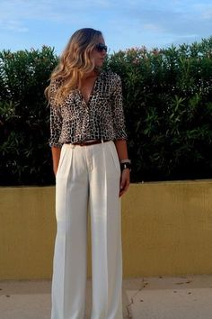 Congrats, blackwhiteblonde! A little leopard goes a long way. Cream  Trousers Outfit, 65a5dac5e0