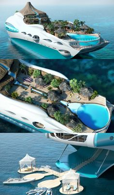 Island Yacht Video: Luxury Yacht With Private Tropical Island Seen so many of… Dream Vacations, Vacation Spots, Boat Design, Places To See, Beautiful Places, Around The Worlds, Luxury, Building, Travel
