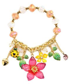 Betsey Johnson Bracelet, Flower and Ladybug Half Stretch Bracelet