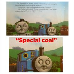 "I think Thomas already had a lot of ""special coal"" Dark Humour Memes, Dankest Memes, Funny Memes, Hilarious, Humor, Sims Memes, Thomas Meme, Funny Kids, The Funny"