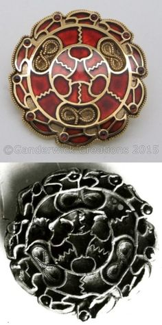 Merovingian gold and garnet disc brooch reconstruction by Ganderwick Creations. Original brooch shown.