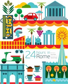 24 hours in Rome illustration which features some of the cities iconic buildings such as the the famous colosseum and Arch of Constantine. Illustrations Vintage, Illustrations Posters, City Poster, Travel Illustration, World Cities, Map Design, Travel Maps, Vintage Travel Posters, Design Inspiration