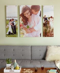Turn a favorite wedding photo (or three) into a stunning wall display. Dont let your wedding day photos gather dust. Click for more wedding photo home decor ideas.
