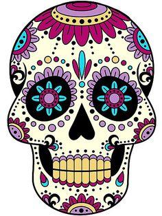 'skull purple' Photographic Print by Fabien photofab. Sugar Skull Artwork, Sugar Skull Painting, Body Painting, Sugar Skull Drawings, Sugar Skull Images, Day Of The Dead Artwork, Day Of The Dead Skull, Mexican Skulls, Mexican Art