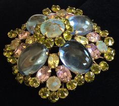 Exquisite Vintage Schreiner N.Y Brooch Pin/Pendant~Art Glass/Rhinestones/Gold Tone~Signed