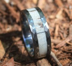 A rugged and awesome Real Deer Antler Ring, for a man or woman who likes to hunt, and appreciates the outdoors! Tungsten Carbide, hypoallergenic ring, with a ha