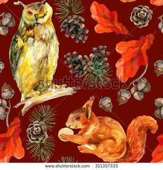 Watercolor forest seamless pattern. Hand painted squirrel, owl, acorn, cone, oak leaves and pine branches on red background.