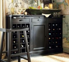 Modular Bar Buffet With 2 Wine Grid Bases & 1 Cabinet Base