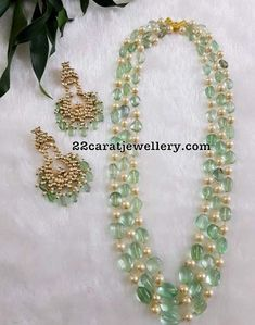 Emerald Beads Set with Polki Chandbalis