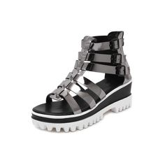 Gray Lug Sole Metallic Gladiator Sandals (805 UAH) ❤ liked on Polyvore featuring shoes and sandals