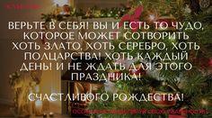 Верьте в Себя! Вы и есть то Чудо, которое может сотворить хоть злато, хоть серебро, хоть полцарства! Хоть каждый день! И не ждать для этого праздника! Счастливого Рождества!