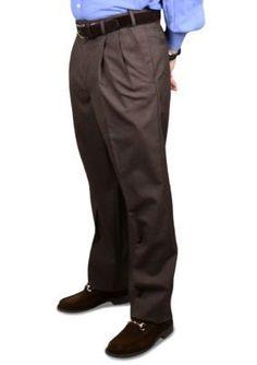 BERLE Brown Wool Self Sizer Waistband Trouser