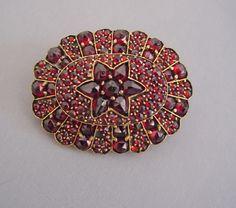 "BOHEMIAN garnet oval brooch, beautiful color, 1-1/2""."