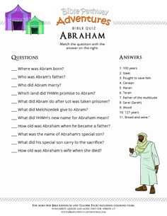 Enjoy our free Bible Quiz: Abraham. Fun for kids to print and test their knowledge. Feel free to share with others, too! Learn more about the Bible. Kids Sunday School Lessons, Sunday School Activities, Bible Activities, Bible Games, Bible Stories For Kids, Bible Study For Kids, Kids Bible, Bible Study Crafts, Bible Lessons For Kids