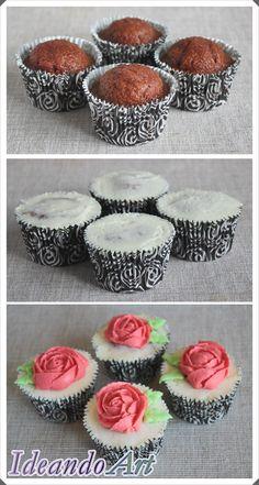 Cupcakes red velvet con cream cheese icing y rosas de crema by IdeandoArt