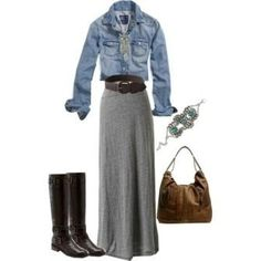 maxi skirt, denim jacket and boots.