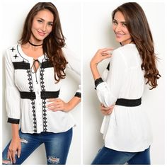 """FABULOUS WHITE AND BLACK PATTERN TOP I just adore this!!  Beautiful white top with a black pattern to it. Feel pretty in this one!  100% polyester. Small measures L25"""" B17"""" W14"""".  S - 3 M - 2 L - 1 Please comment size needed below.  PLEASE DO NOT BUY THIS LISTING. Allow me to make your separate listing for you or help you make a bundle ❤️.  NO PAYPAL NO TRADES. Price is FIRM unless bundled. Tops"""