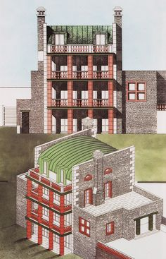 Aldo Rossi, Drawing for Villa Alessi, 1991