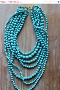 ON SALE Statement Necklace, Turquoise Necklace, Anthropologie Inspired, Inspired, Layers Necklace, Beadwork, Summer Jewelry