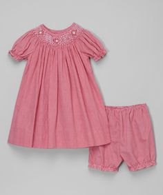 Petit Ami Red Gingham Smocked Bishop Dress & Bloomers