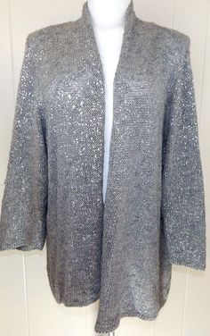 Details about Nwt ELEMENTZ Metallic Velvet Sweater women PM PL ...
