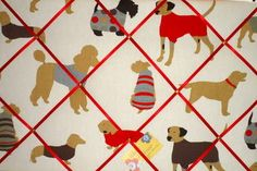 Large Prestigious Dog Man's Best Friend Hand Crafted Fabric Notice / Memory / Pin / Memo Board  £24.99