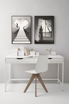 The man on the stairs black and white poster visevasse