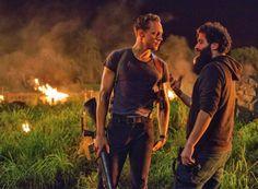 Tom Hiddleston talking the director on the set of 'Kong: Skull Island' (2017)