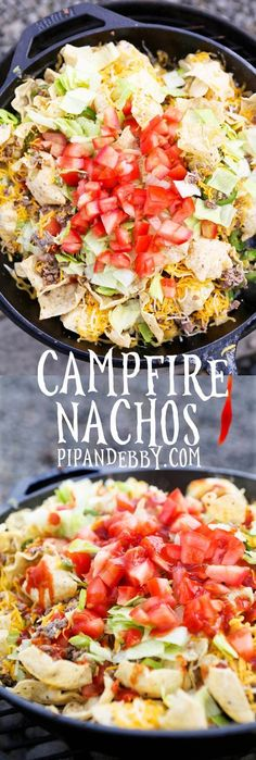 Campfire Nachos These nachos are versatile and can be made on the stovetop grill OR over a campfire Delish little meal or appetizer Nachos, Camping Meals, Camping Hacks, Camping Cooking, Family Camping, Tent Camping, Backpacking Meals, Glamping, Camping Appetizers