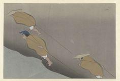 Een boot trekken, Kamisaka Sekka, Yamada Naosaburo, 1909
