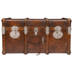 Vintage Travel Trunk in the Style of Vuitton | From a unique collection of antique and modern trunks and luggage at https://www.1stdibs.com/furniture/more-furniture-collectibles/trunks-luggage/