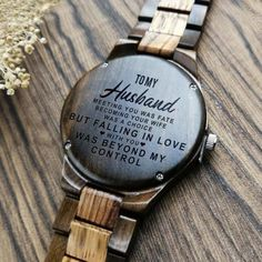 To My Husband Engraved Wooden Watch - Love Gifts to Husband - nagellack Creative Gifts For Boyfriend, Gifts For Fiance, Boyfriend Gifts, Boyfriend Stuff, Cool Watches, Watches For Men, Gps Watches, Popular Watches, Sport Watches