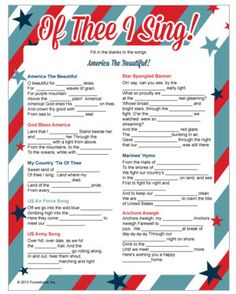 Patriotic songs - fill in the blanks. Printable patriotic games from Funsational,Inc.