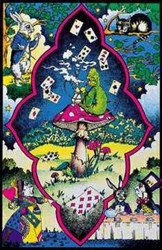 Alice in Wonderland Trippy Collage 23x35 Black Light Poster