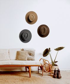 Hats turn into home decor. William Brown, Calloway Ash & Andy Oak hanging on the wall waiting for the next journey. Decor, Home Decor Inspiration, Living Room Decor, Home Decor, Room Inspiration, House Interior, Apartment Decor, Room Inspo, Interior Design