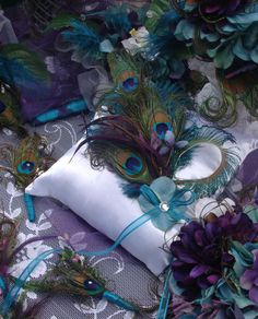 Peacock Wedding Ring Bearer Pillow DECORATION and by Ivyndell, $60.00